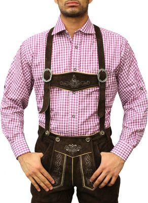Traditional Bavarian Shirt For Lederhosen/Oktoberfest,Colour:Purple/Checkered