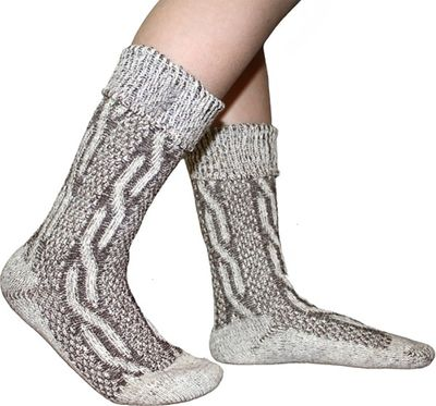 Traditional Bavarian Children Socks, Plain Design, Colour:Brown Mottled