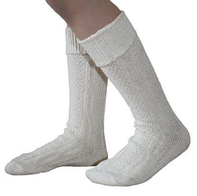 Traditional Bavarian Children Socks, Plain Design, Colour:Cream