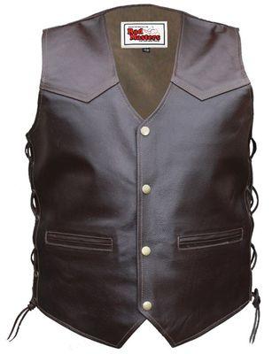 Leather west Motorbike vest Brown