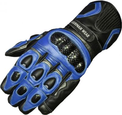 motorbike gloves leather gloves in color Black/Blue
