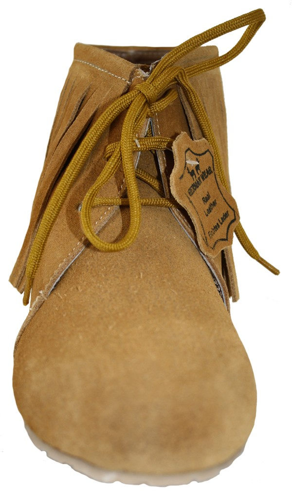 traditional indian shoes made of suede leather color ochre