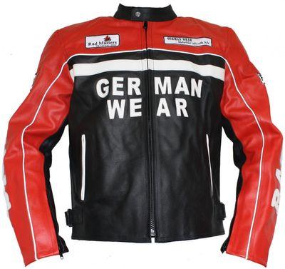German Wear, Motorrad Lederjacke Motorradjacke Rindsleder Jacke Schwarz/Rot – Bild 1