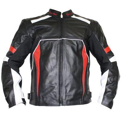 German Wear Leather Motorcycle Motorbike Cowhide Combi Jacket - Black, Red, White – image 1