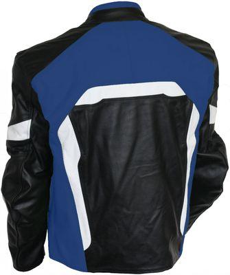 Leather Motorcycle Cowhide Combi jacket black/blue/white – image 2