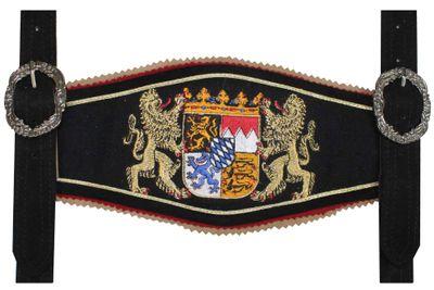 GermanWear, Trachten Hosenträger lederhosen mit Bayerischem Wappen-stickerei – Bild 4