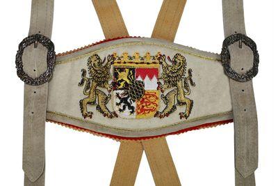 GermanWear, Trachten Hosenträger lederhosen mit Bayerischem Wappen-stickerei – Bild 6