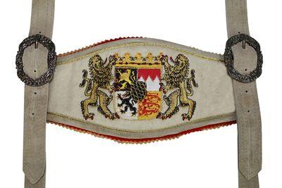 GermanWear, Trachten Hosenträger lederhosen mit Bayerischem Wappen-stickerei – Bild 3