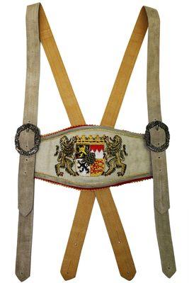 GermanWear, Trachten Hosenträger lederhosen mit Bayerischem Wappen-stickerei – Bild 9