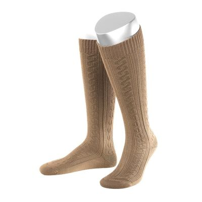 Short Ladies Trachten Socks Stockings Braided Look, Colour:Light Brown