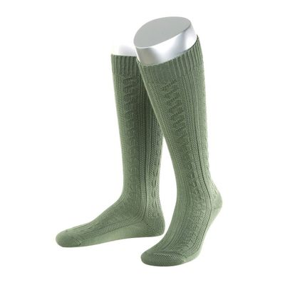 Short Ladies Trachten Socks Stockings Braided Look, Colour:Green