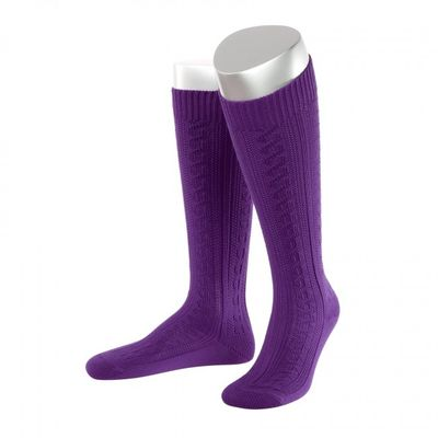 Short Ladies Trachten Socks Stockings Braided Look, Colour:Violet