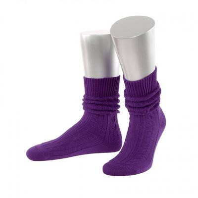 Short Ladies Trachten Socks Stockings Braided Look, Colour: Violet
