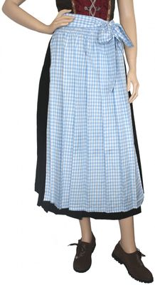 Apron for Long Dirndl Traditional Apron, Colour:Blue/ Checkered
