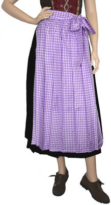 Apron For Long Dirndl ,Traditional Apron, Colour: Purple checkered