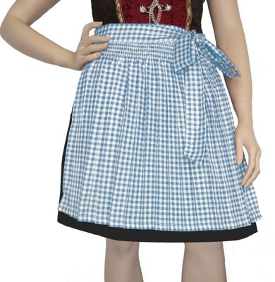 Dirndl Apron ,Traditional Apron, Colour: Light Blue /checkered – image 1