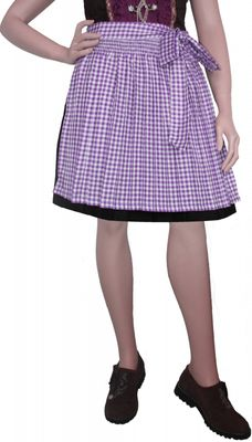 Dirndl Apron Traditional Apron, Colour: Purple checkered – image 2