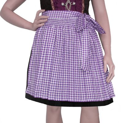 Dirndl Apron Traditional Apron, Colour: Purple checkered