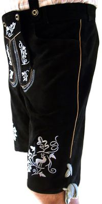 Bavarian Shorts Miesbacher With Suspenders,Color: Black/Silver – image 2