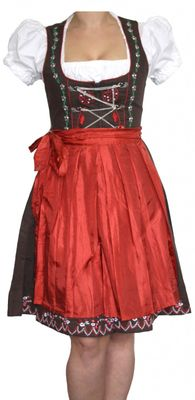 3 Pieces Midi-Dirndl Dress Set Bavaria Oktoberfest lederhosen, Red