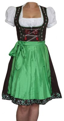 Three Pieces Midi-Dirndl Dress Set For Oktoberfest Lederhosen,Color: Green