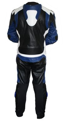 Motorbike motorcycle leathers 1 one piece suit real Cowhide leather Blue – image 3