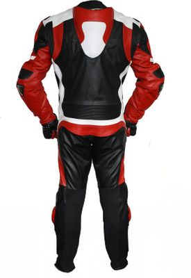 Motorbike motorcycle leathers 1 one piece suit real Cowhide leather Red – image 2