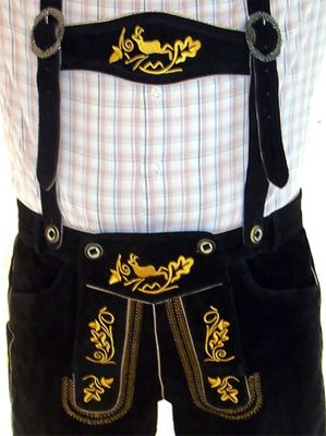 Bavarian Shorts Miesbacher With Suspenders,Color: Black/Gold – image 2