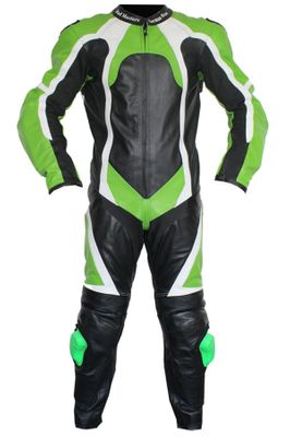 Motorbike motorcycle leathers 1 one piece suit real Cowhide leather Green