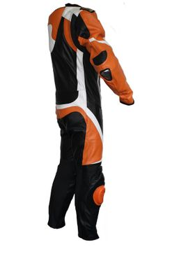 Motorbike motorcycle leathers 1 one piece suit real Cowhide leather Orange – image 3