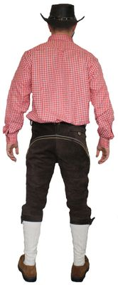 Knee Lenght Pants Breeches Made Of Suede Leather With Suspenders,Color: Dark Brown – image 4