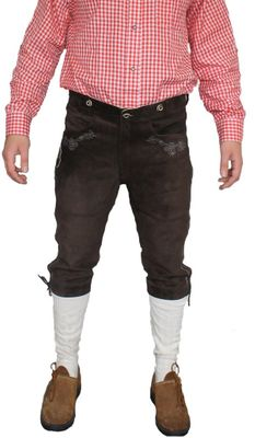 Knee Lenght Pants Breeches Made Of Suede Leather With Suspenders,Color: Dark Brown – image 1
