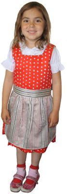 Three Piece Girl Dirndl Trachten Dress Girly,Color: Red/ Cream – image 1