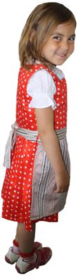 Three Piece Girl Dirndl Trachten Dress Girly,Color: Red/ Cream – image 3