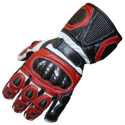 Motorbike Biker Leather Gloves Red/White – image 1