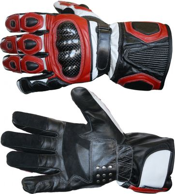 Motorbike Biker Leather Gloves Red/White – image 3