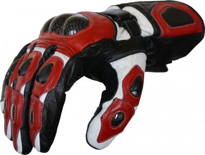 Motorbike Biker Leather Gloves Red/White – image 2