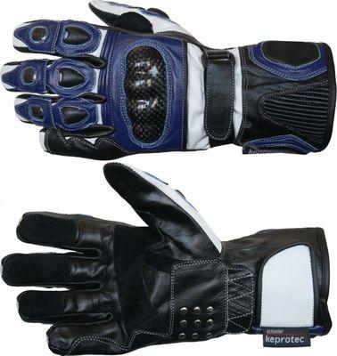 German Wear, Motorradhandschuhe Motorrad Biker Lederhandschuhe Blau/weiß – Bild 3