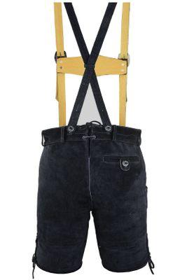Bavarian Shorts/Lederhosen Made Of Suede Leather With Suspenders,Color: Black – image 3