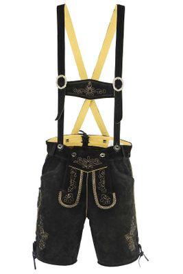 Bavarian Shorts/Lederhosen Made Of Suede Leather With Suspenders,Color: Black – image 2