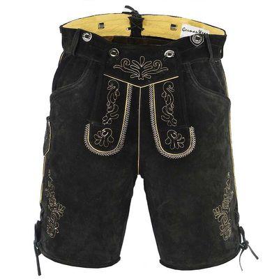 Bavarian Shorts/Lederhosen Made Of Suede Leather With Suspenders,Color: Black