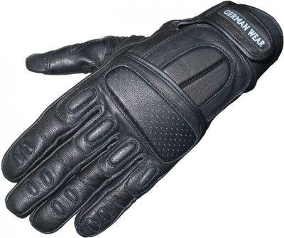 German Wear, Motorradhandschuhe Motorrad Biker Handschuhe Lederhandschuhe Schwarz – Bild 1