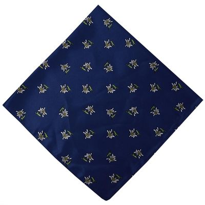 Trachten scarf ,scarf flower design, size:60x60cm,Color: Dark Blue