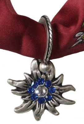 Metal Trachten Adherent, Edelweiß form,  Blue paste gems