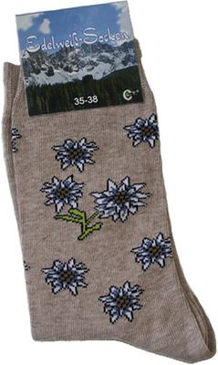 Trachten socks, Edelweiss-Socks, Flower design,Color: Beige