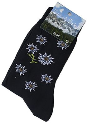 Trachten socks, Edelweiss-Socks, Flower design,Color: Black