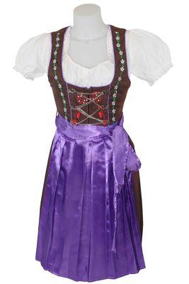 3 Pieces Midi-Dirndl Dress Set Bavaria Oktoberfest, Purple