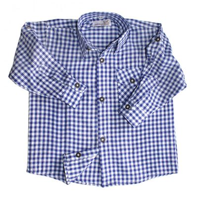 Kids shirt for Bavarian Lederhosen Oktoberfest cotton blended,Color: Blue/checkered – image 2