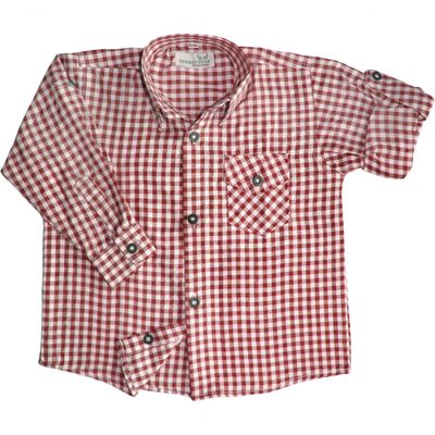 Kids shirt for Bavarian Lederhosen Oktoberfest cotton blended,Color:  Red/checkered – image 1