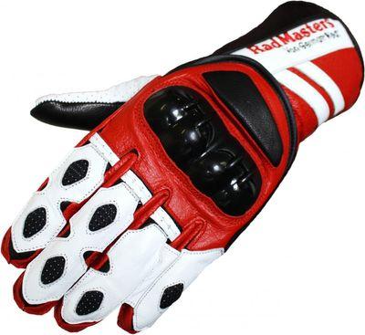Motorbike gloves Motorcycle Biker Leathergloves red/white – image 1